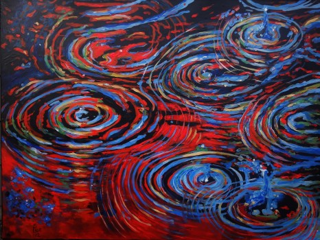Red Rain Large Abstract