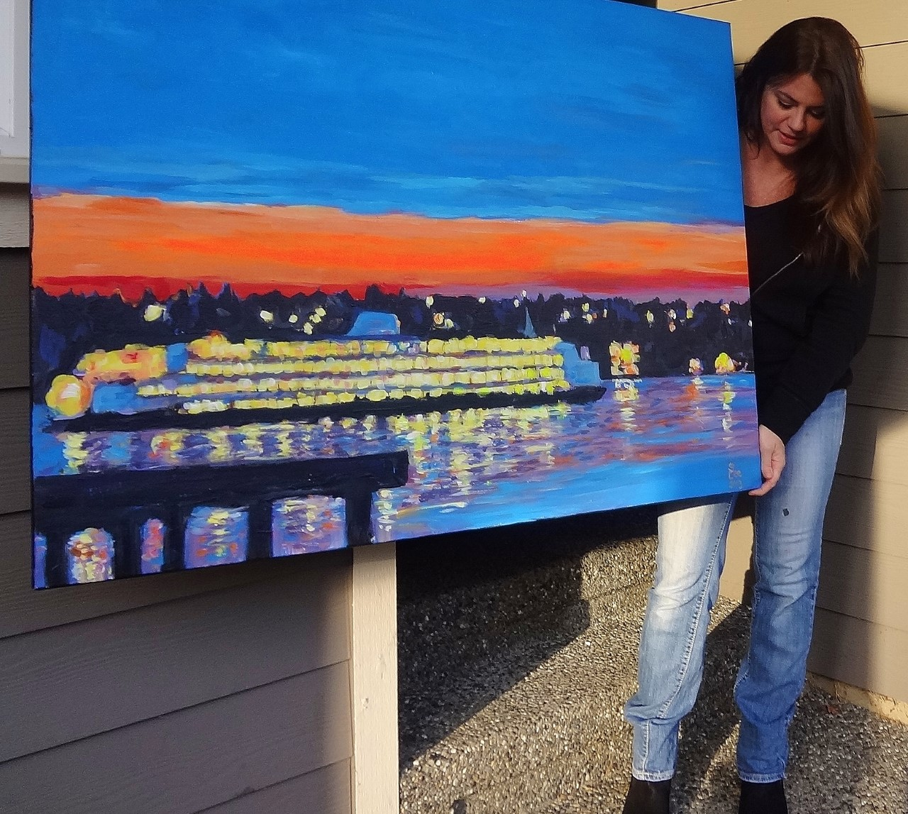 Seattle pier nights ~ Large canvas for sale