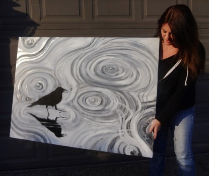 Crow in a Rain puddle Large Canvas for sale