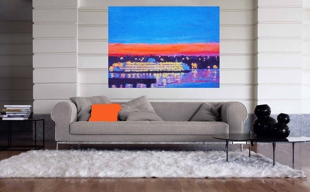 Seattle Pier nights~ large Canvas for sale