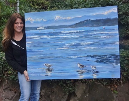 Sandpipers at Edmonds Beach ~ large canvas for sale