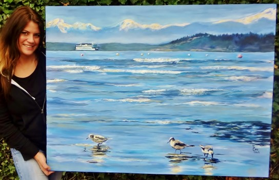 9 Currently hanging in the Capital Bldg. Edmonds Beach Sand pipers at Edmonds Beach Puget Sound beach and ferry Large painting